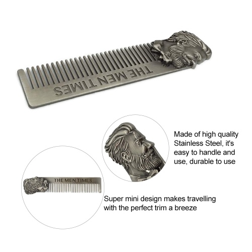 1pc Stainless Steel Beard Comb Beard Shaping Brush Beard Styling Comb Template Grooming Kit Facial Hair Trimmer for Jaw Line Cheek Neck Goatee W6084