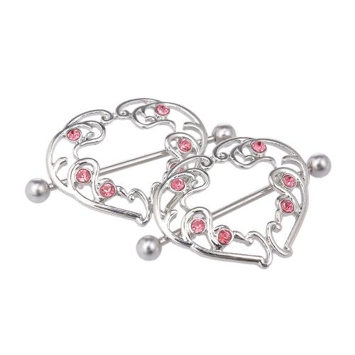 En forma de corazón pezón escudo cuerpo piercing pezón anillos para mujer chica joyería del cuerpo buen regalo