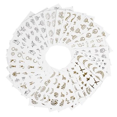 30 Hojas Moda 3D Oro / Plata Diseños Nail Sticker Transferencia de Agua Calcomanías de Uñas Punta de Papel de Uñas Belleza DIY