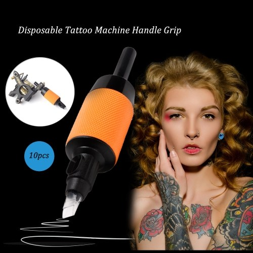 10pcs Disposable Tattoo Machine Handle Grip Silicone Grip Hard Plastic Tips Tattoos Supplies Tubes Fit Your Tattooing Needles