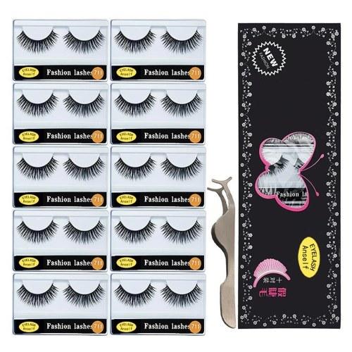 Anself 10 pares de pestañas postizas con pestañas postizas Aplicador de pestañas largas y rizadas pestañas Tiras de maquillaje para maquillaje de ojos
