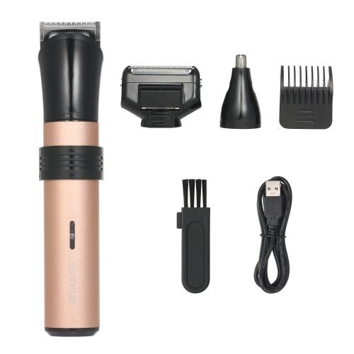 Kit de cortapelos eléctrico Recortador de cabello inalámbrico recargable 3 en 1 con bigote y afeitadora de barba con peine guía y removedor de vello de nariz para detallado y aseo Kit de corte de cabello
