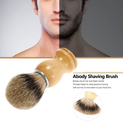 Abody Men's Blaireau Shaving Brush Male Hair Brush for Beard Cleaning Shave Facial Brush with Beech Handle for Razor Face Cleaning Tool W2665