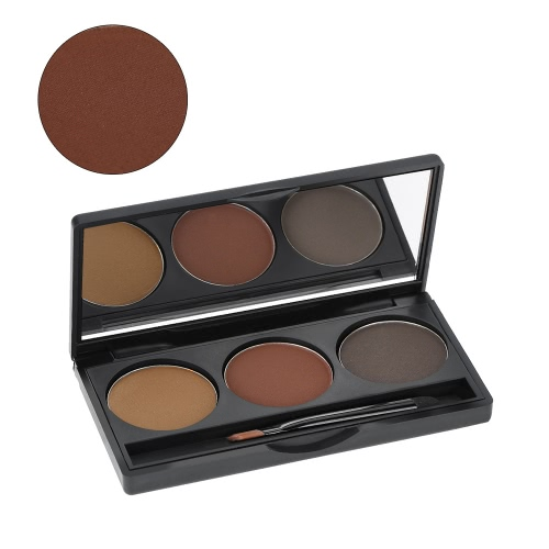 Abody Professional 3 Colors Eyebrow Powder Shadow Palette Eyeliner Powder Nature Coffee & Brown Color Cosmetic Tool Makeup Kit wit