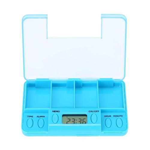 Multi-Alarma Temporizador Smart Box recordatorio de las píldoras de plástico caja de la medicina de la tableta de alarma del reloj 4 para las personas mayores y Paciente