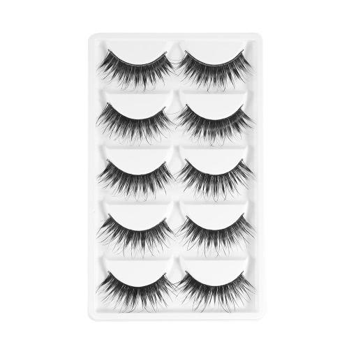 5 Pairs Upper Eyelashes False Eyelash Hand-made Fake Lashes Lengthen Eyelashes Cross Lashes Women Eye Makeup Tool