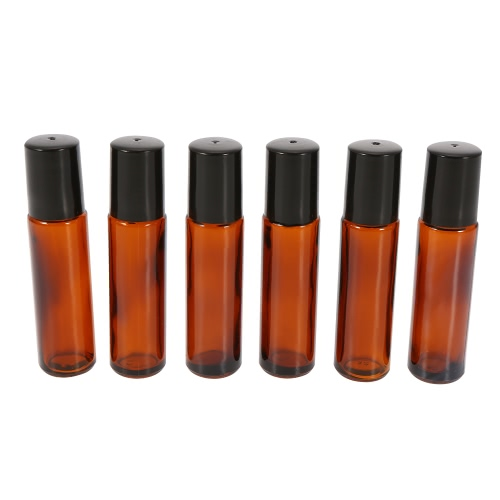 10 ml de vidrio ámbar Roll-on Botellas de aceite esencial Tarro de acero inoxidable bola de rodillo de 2 ml con gotero 6Pcs