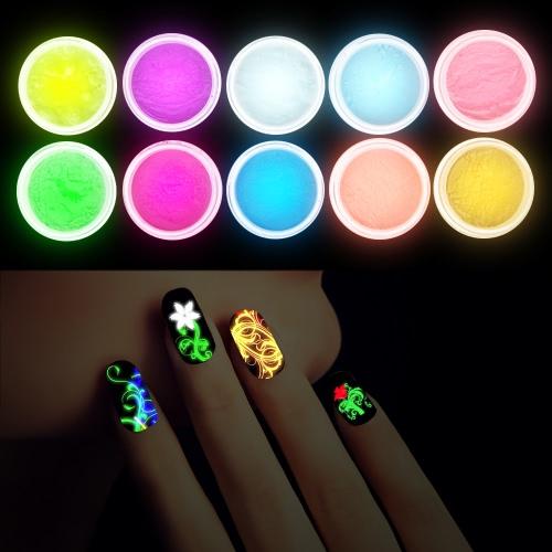 10Pcs fluoreszierendes leuchtendes Nagel-Puder