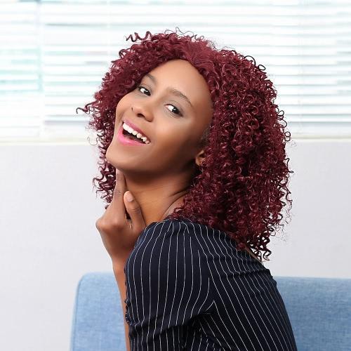 12.5 '' Magenta вьющиеся волосы парики синтетического волокна парик Женщина Фигурные Shaggy парик волос парики Средние афро с кружевной чепчик