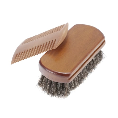 Men's Beard Brush & Comb Kit Horse Hair Mustache Shaving Brush Golden Sandalwood Beard Comb Male Facial Hair Brush Set W4275
