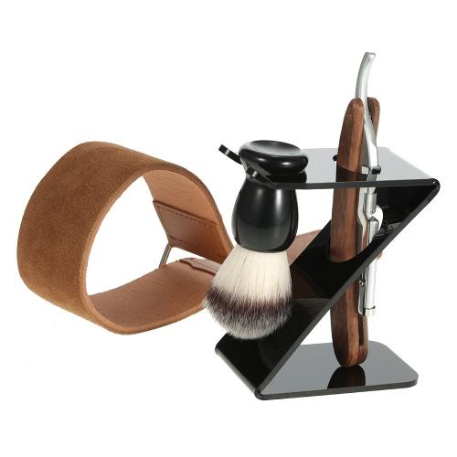 Anself 4 en 1 maquinilla de afeitar recta + Brocha de afeitar + Brocha + soporte de cuero de la correa de suavizador hombre Brocha de afeitar Razor Set Kit de Herramientas