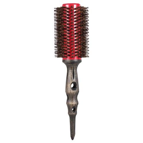 14mm Rundbürste Natürlicher Borstenrollenkamm mit rutschfester Holzgriff Aluminium Runder Kamm für Haarstyling