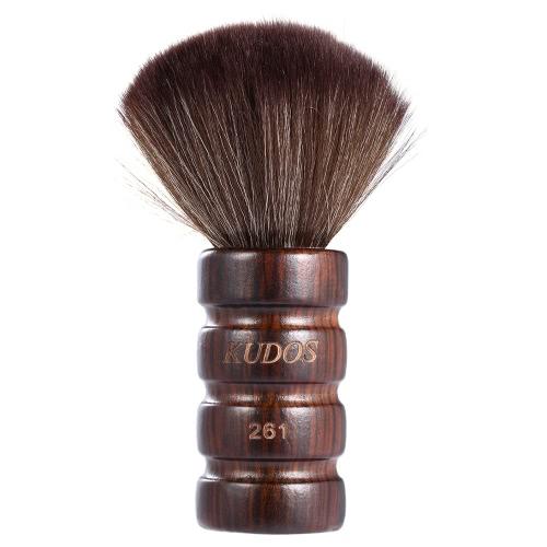 Barber Cuello Duster Cepillo de limpieza Salon Peluquería Barrido de pelo Cepillo de pelo suave Face Duster Brush Cleaning Tool Mango de madera