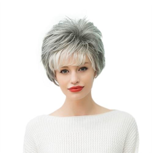 11 '' pelucas verdaderas de la mujer del pelo humano Peluca recta corta del pelo Peluca femenina gris resistente al calor