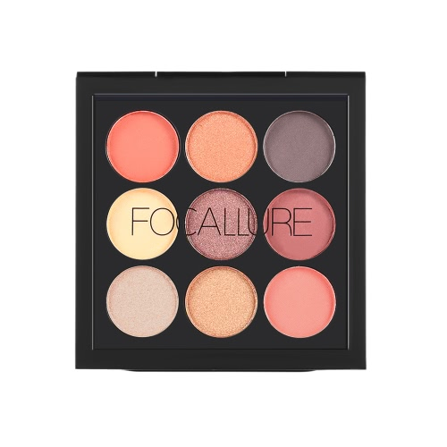 FOCALLURE 9 Цветовая палитра Eyeshadow Matte Shimmer Eye Shadow Powder Долговечная палитра для макияжа Eyeshadow для лица