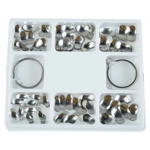 100Pcs Full Kit Dental Orthodontic Sectional Contoured Metal Matrices com 2 anéis 35μm Hard