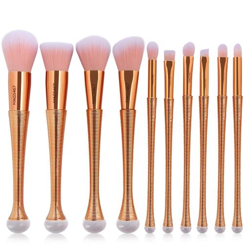 10 stücke Rosa Gold Make-Up Pinsel Set Power Foundation Blush Lidschatten Contour Blending Meerjungfrau Schönheit Kosmetische Werkzeug Kits