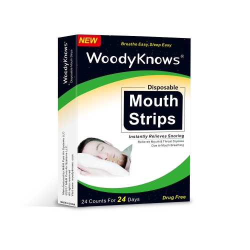 24 Pcs / Box Mouth Strips Fita de boca descartavel para a secura da boca Sore Throat Snoring Solution