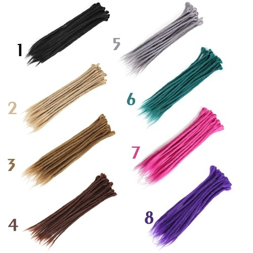 1 Pack 10 PCS Handmade Dreadlocks Extensions Fashion Reggae Crochet Hip-Hop Synthetic Dreads Crochet Braiding Hair ¢ògrey