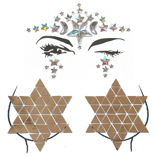 Big Classic Ceremony Face Breast Bling Gem Kit Cluster Self Adhesive Sticker On Jewels Body Decoration Rhinestone Temporary Tattoo Jewels Festival Party Glitter Stickers Easy To Operate