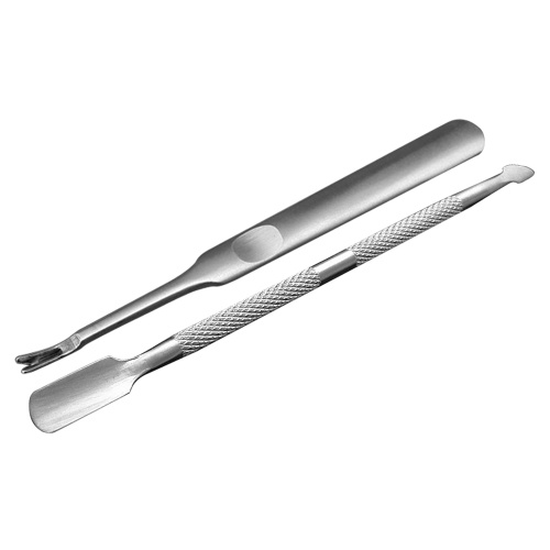 2Pcs Stainless Steel Double-ended Nail Pusher & Nail Cuticle Trimmer Set