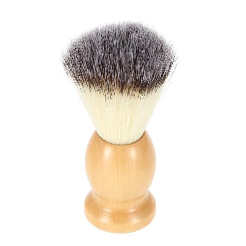 Herren Nylon-Rasierpinsel mit Holz zu behandeln, für Bart professionelle männliche Razor Gesichts Bürste Gesichtsreinigung Tool gelb
