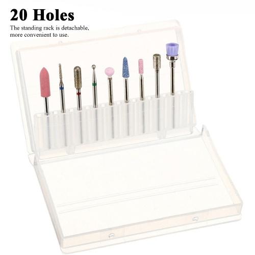 20 Holes Nail Drill Bits Holder Display Standing