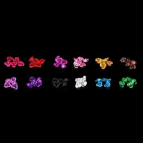 1セット3Dネイルアートジオラマは、ストレージボックスとネイルのヒント指の装飾花のための花12色アルミ花を干し