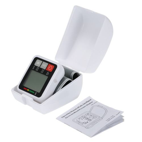 Electronic Blood Pressure Monitor Wrist Type Digital Pulse Wrist bp Monitor Intellisense Microcomputer Intelligent Type with Voice and LCD Display Health Medical Instrument