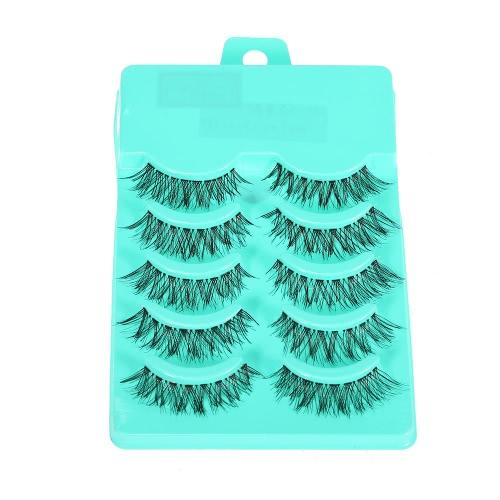 5 Pairs Upper Eyelashes False Eyelash Hand-made Fake Lashes Cross Lashes Thick & Long Women Eye Lashes Makeup Tool