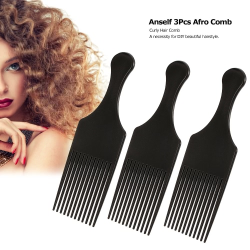 Anself 3Pcs Afro Comb Curly Hair Brush Comb Hairdressing Styling Tool Black for Man & Woman