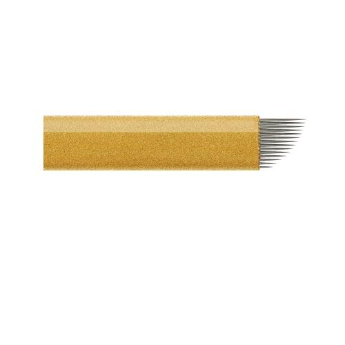 50pcs Augenbraue-Nadel Tätowieren Klinge Permanent Make-up Nadeln 14 Pins Augenbrauen Tattoo-Nadel-Edelstahl-Tätowierung-Nadel für die manuelle Tätowieren Pen