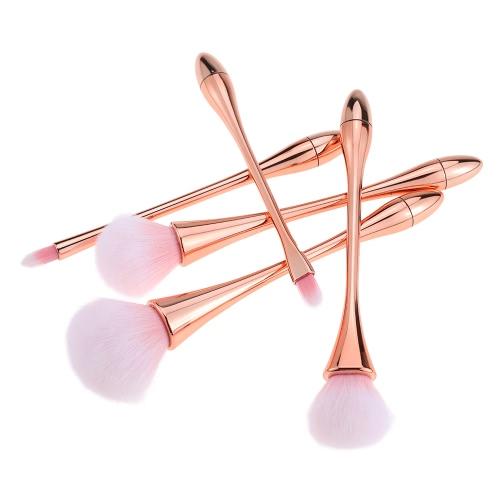 5 x cepillo profesional del maquillaje cosmético del cepillo Kit Corrector Fundación de sombra de ojos en polvo se ruboriza cepillo de fibra herramienta de la belleza de oro rosa de la manija del color dulce