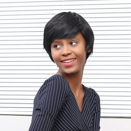 11 '' corta recta pelucas de pelo de la mujer Negro postizo de la fibra sintética de la peluca de señora de la oficina con el casquillo del cordón