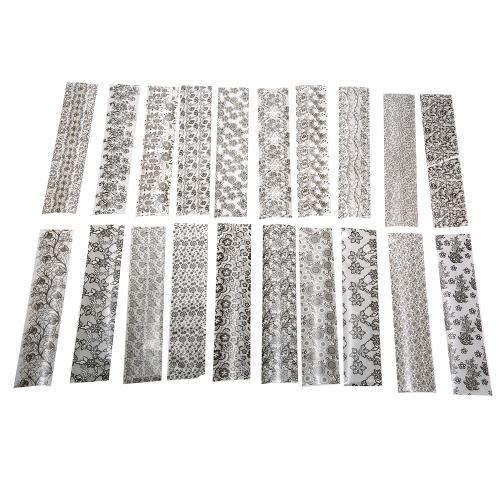 20 Blätter 19cm * 4cm schwarze Spitze-Blumen-Nagel-Kunst-Transferfolie Aufkleber-Spitze-Abziehbild-Dekoration DIY Maniküre Werkzeuge