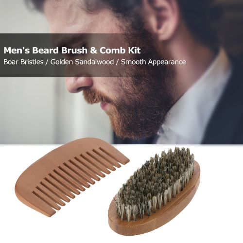 Men's Beard Brush & Comb Kit Boar Bristles Mustache Shaving Brush Wooden Beard Comb Male Facial Hair Brush Set