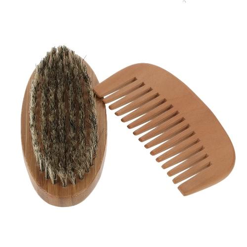 Hombres Barba cepillo y peine kit de jabalí cerdas del bigote de brocha de afeitar de madera de la barba masculina peine del cepillo de pelo facial Set