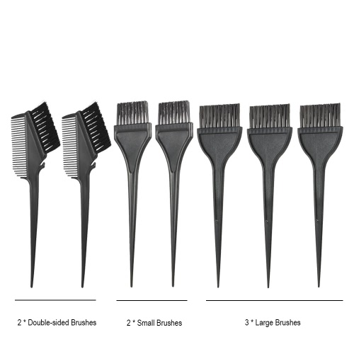 7pcs Hair Coloring Comb Kit Hair Dyeing Brushes Set Double-sided Hair Tint Tool Black Hairdressing Tool