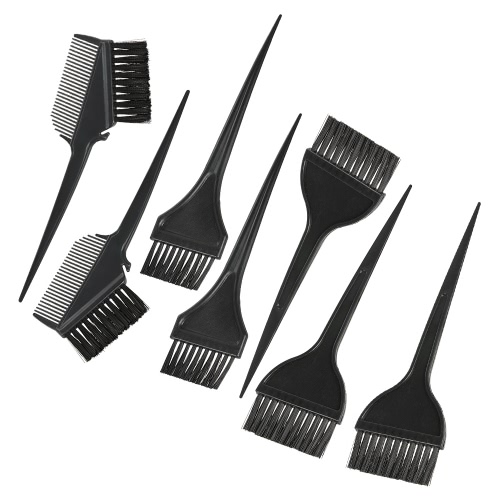 7pcs Hair Coloring Comb Kit Escovas de tingimento de cabelo Set Double-sided Hair Tint Tool Black Hair Hairdressing Tool