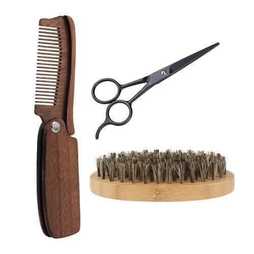 3pcs men 39 s beard brush comb scissor kit boar bristle shaving brush amoora beard comb. Black Bedroom Furniture Sets. Home Design Ideas