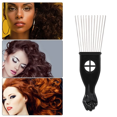 3Pcs Metal Afro Comb African American Pick Comb Hair Brush Hairdressing Styling Tool Black Fist