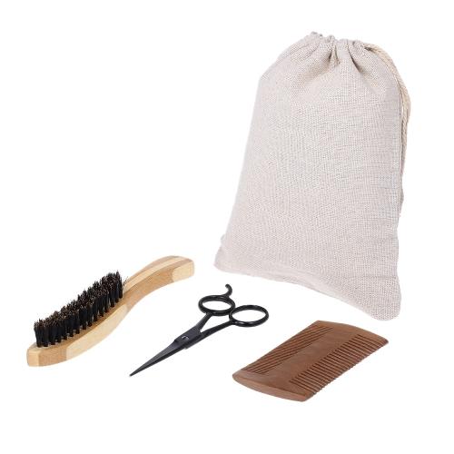 3本の男性のひげのブラシの櫛シザーキットの口紅のブラシ+ひげのくし+はさみの男性の顔の洗浄ヘアブラシセット