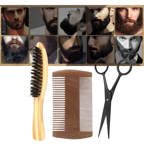 3Pcs Men's Beard Brush Comb Scissor Kit Moustache Brush + Beard Comb + Scissor Male Facial Cleaning Hair Brush Set W5916