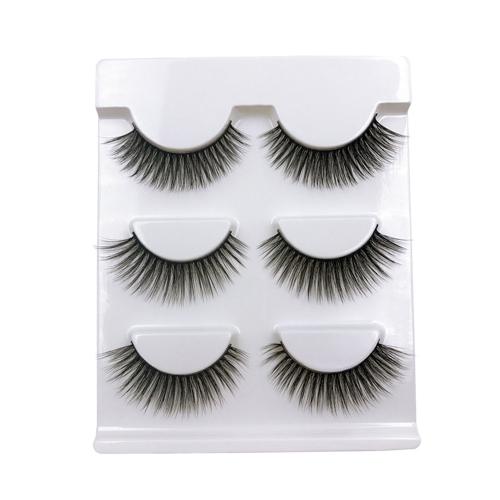 3 пары False Eyelash Длинные черные толстые поддельные ресницы Природные мягкие макияж Eye Lashes Cross Handmade False Eyelash