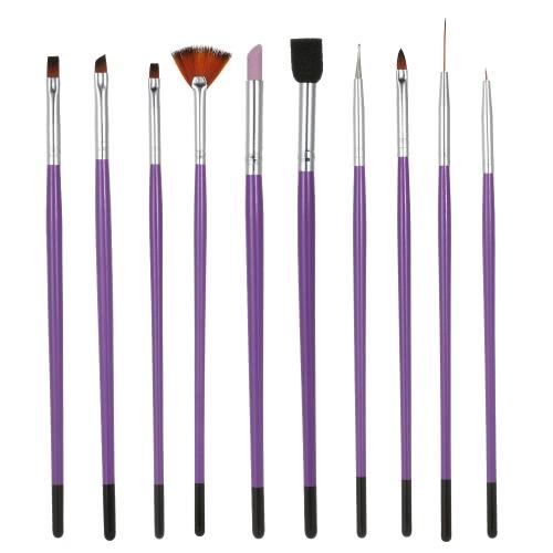 10Pcs Nail Art Painting Brush Set Nylon Finger-nail & Toenail Dotting Pen for UV Gel Purple Nail Salon Decoration Tools