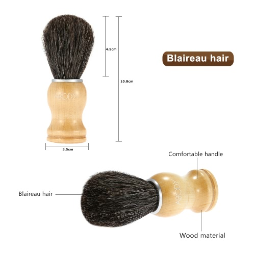 Abody Men's Blaireau Shaving Brush Male Hair Brush for Beard Cleaning Shave Facial Razor Brush with Wood Handle Face Cleaning Tool W2667