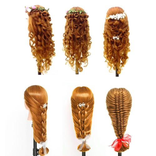 "24"" Dummy Head 50% Real Human Hair Training Head Hairdressing Salon Head + Clamp Holder Hairdressing Practice Head Golden Yellow"
