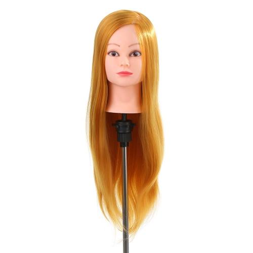 24「ダミーヘッド50パーセント本物の人間の髪の毛のトレーニング頭部美容サロンヘッド+クランプホルダー理髪実践頭ゴールデンイエロー