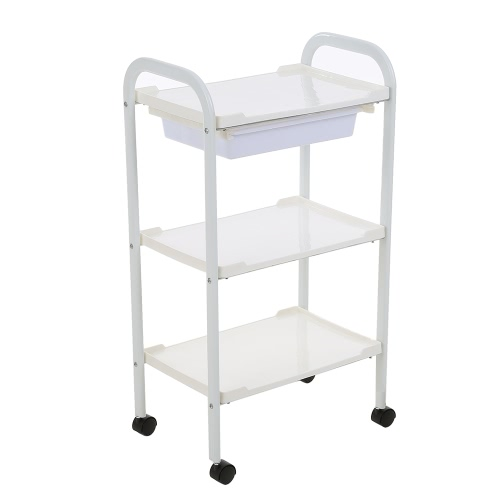 Barber Cart Save Salon Trolley Haar Rolling Cart 3 Schichten Lagerung Warenkorb Tray Cart Save Frisur Trolley Hair Cart White