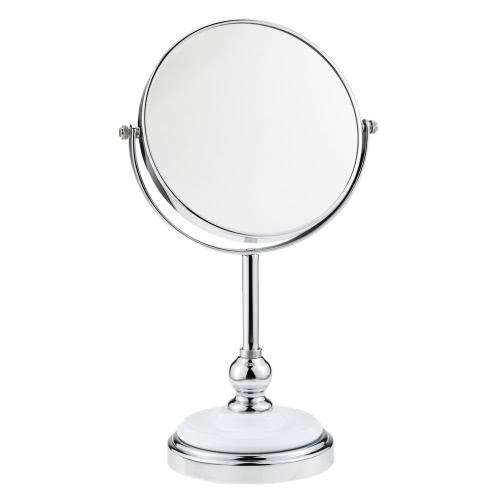 7 pulgadas de 3 aumentos de la forma redonda circular dual doble lateral giratorio de maquillaje cosmético de la vanidad Soporte de mesa Espejo con base Halfsphere Mujeres señora de las muchachas